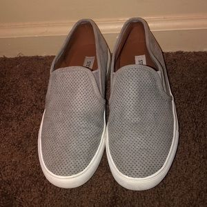 gray steve madden slip on shoes